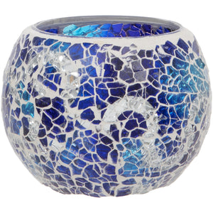 Blue Crackled Glass Mosaic Tealight Holder