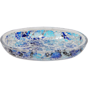 Blue Crackled Glass Mosaic Soap Dish
