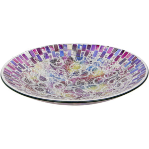 Multi Coloured Crackled Glass Mosaic Decorative Plate