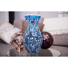 Load image into Gallery viewer, Blue Crackled Glass Mosaic Vase
