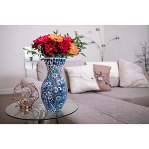 Blue Crackled Glass Mosaic Vase