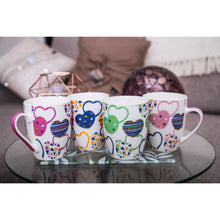 Load image into Gallery viewer, Set of Four Heart Mugs