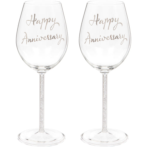 Set of Two Happy Anniversary Wine Glasses