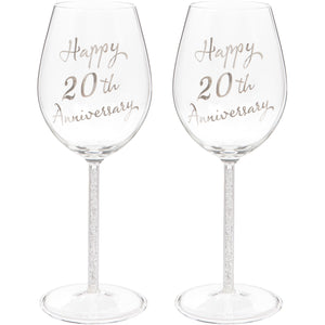 Set of Two 20th Anniversary Wine Glasses
