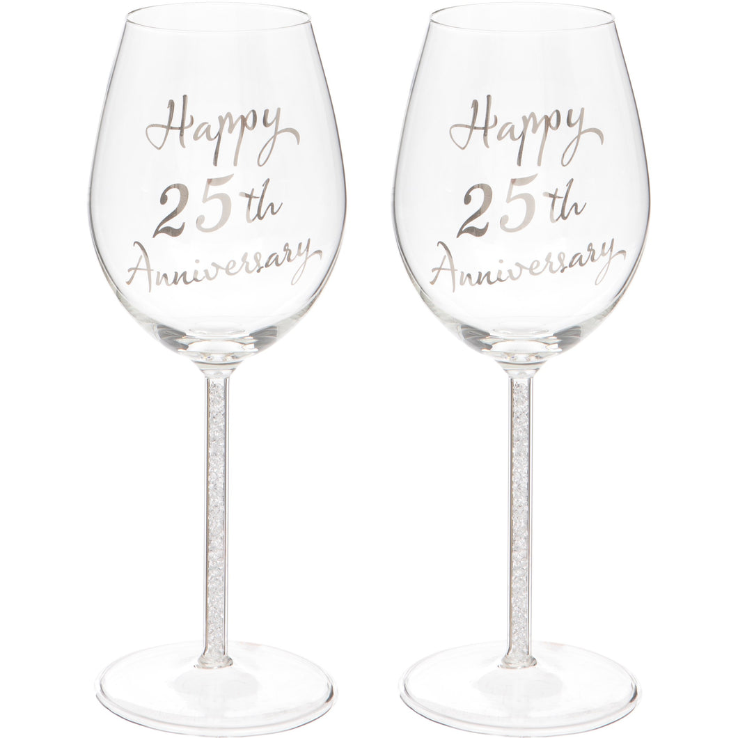 Set of Two 25th Anniversary Wine Glasses