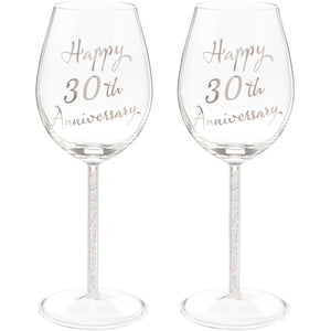 Set of Two 30th Anniversary Wine Glasses