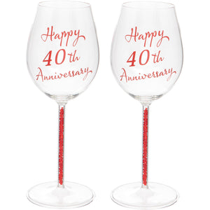 Set of Two 40th Anniversary Wine Glasses