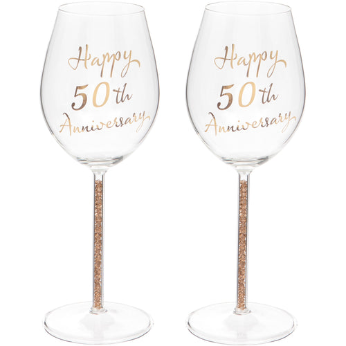 Set of Two 50th Anniversary Wine Glasses