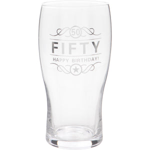 50th Birthday Beer Glass