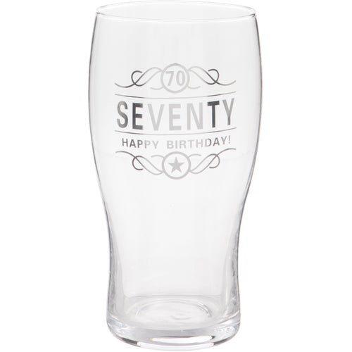 70th Birthday Beer Glass
