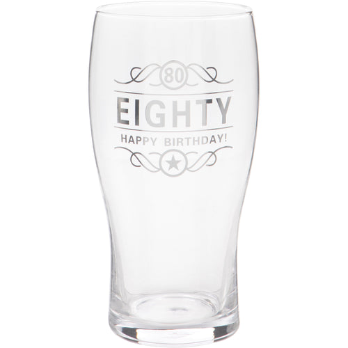 80th Birthday Beer Glass