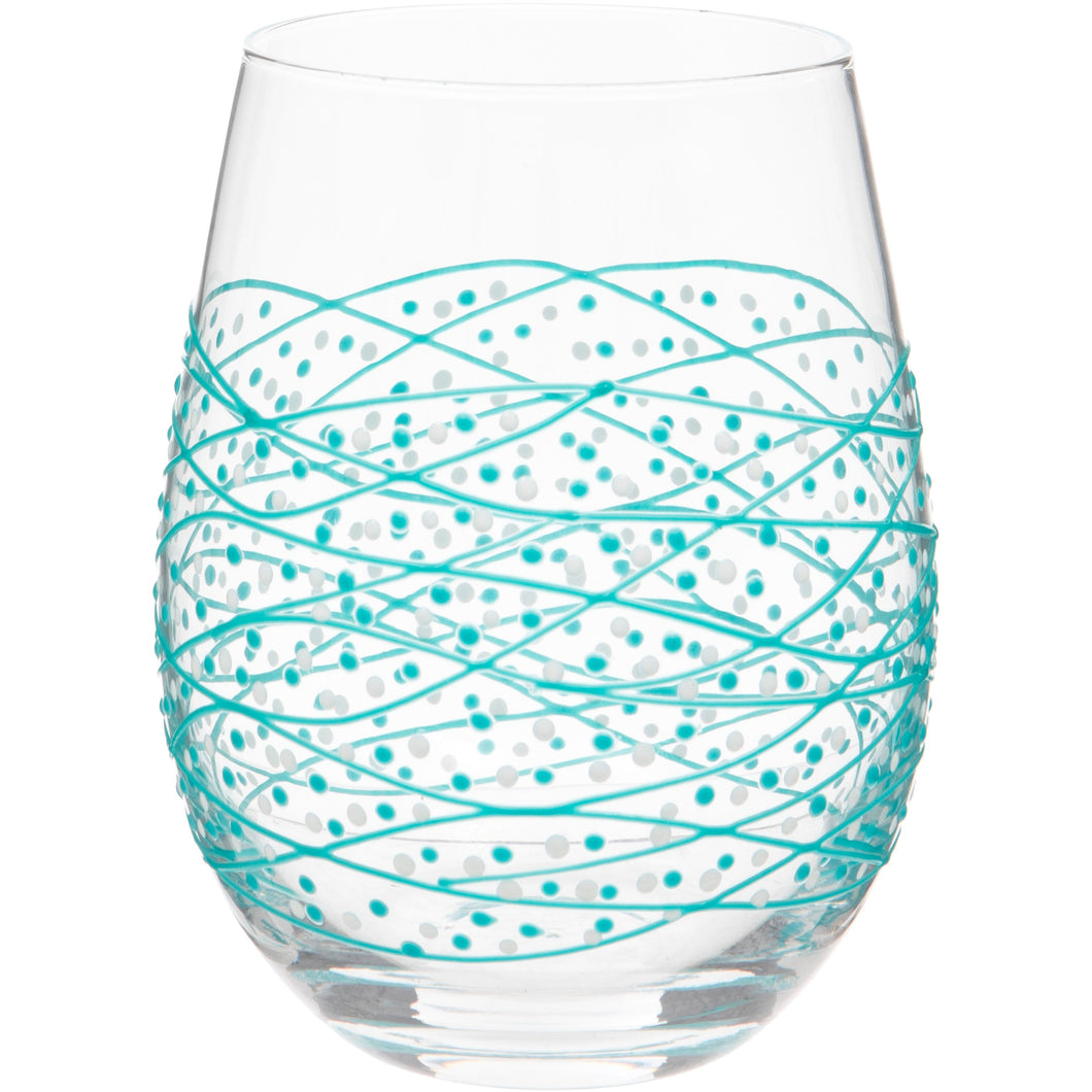 Hand Painted Stemless Wine Glass