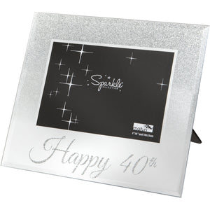 Mirrored Silver Glitter 6 x 4 Inch Photo Frame Happy 40th