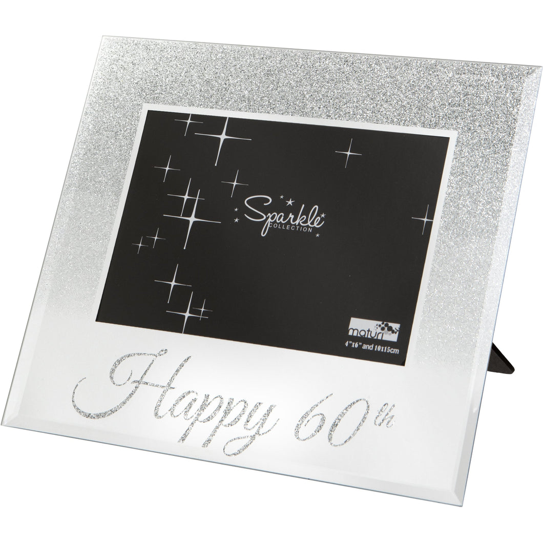 Mirrored Silver Glitter 6 x 4 Inch Photo Frame Happy 60th