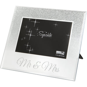 Mirrored Silver Glitter 6 x 4 Inch Photo Frame Mr & Mrs