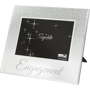 Mirrored Silver Glitter 6 x 4 Inch Photo Frame Engagement