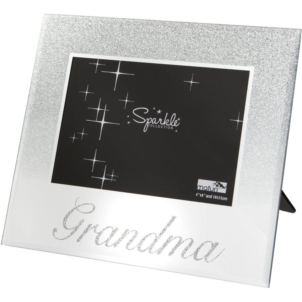Grandma Mirrored Silver Glitter 6 x 4 Inch Photo Frame