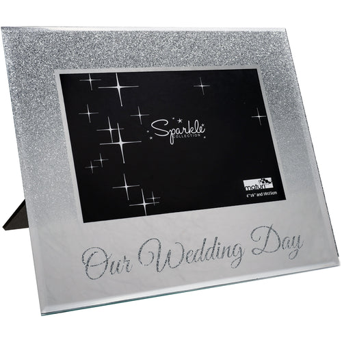 Our Wedding Day Mirrored Silver Glitter 6 x 4 Inch Photo Frame