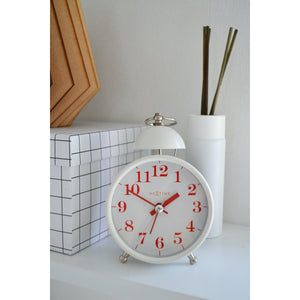 NeXtime - Alarm clock – Ø 16 cm - Metal – White – Loud Alarm- 'Single Bell'