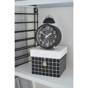 NeXtime - Alarm clock – Ø 16 cm - Metal – Black– Loud Alarm- 'Single Bell'