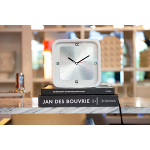 NeXtime - Table clock - 20 x 20 x 6 cm - Wood - White - 'Square Alarm'