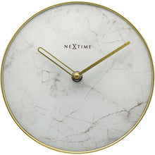 Load image into Gallery viewer, NeXtime- Table / Wall clock - Ø 20 cm - Glass / Metal - White - 'Marble'