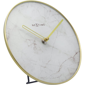 NeXtime- Table / Wall clock - Ø 20 cm - Glass / Metal - White - 'Marble'