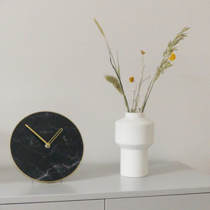 NeXtime- Table / Wall clock - Ø 20 cm - Glass / Metal - Black - 'Marble'