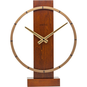 NeXtime- Table / Wall clock - 34 x 27 cm - Wood/Steel - Brown - 'Carl Small'