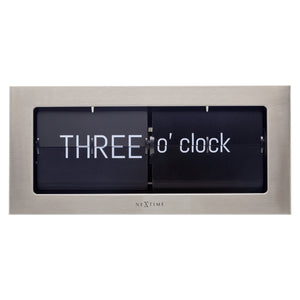 Flip Clock - Table or Wall Clock -Silver - Metal - 36x16x8,5cm - Big Flip Text - NeXtime