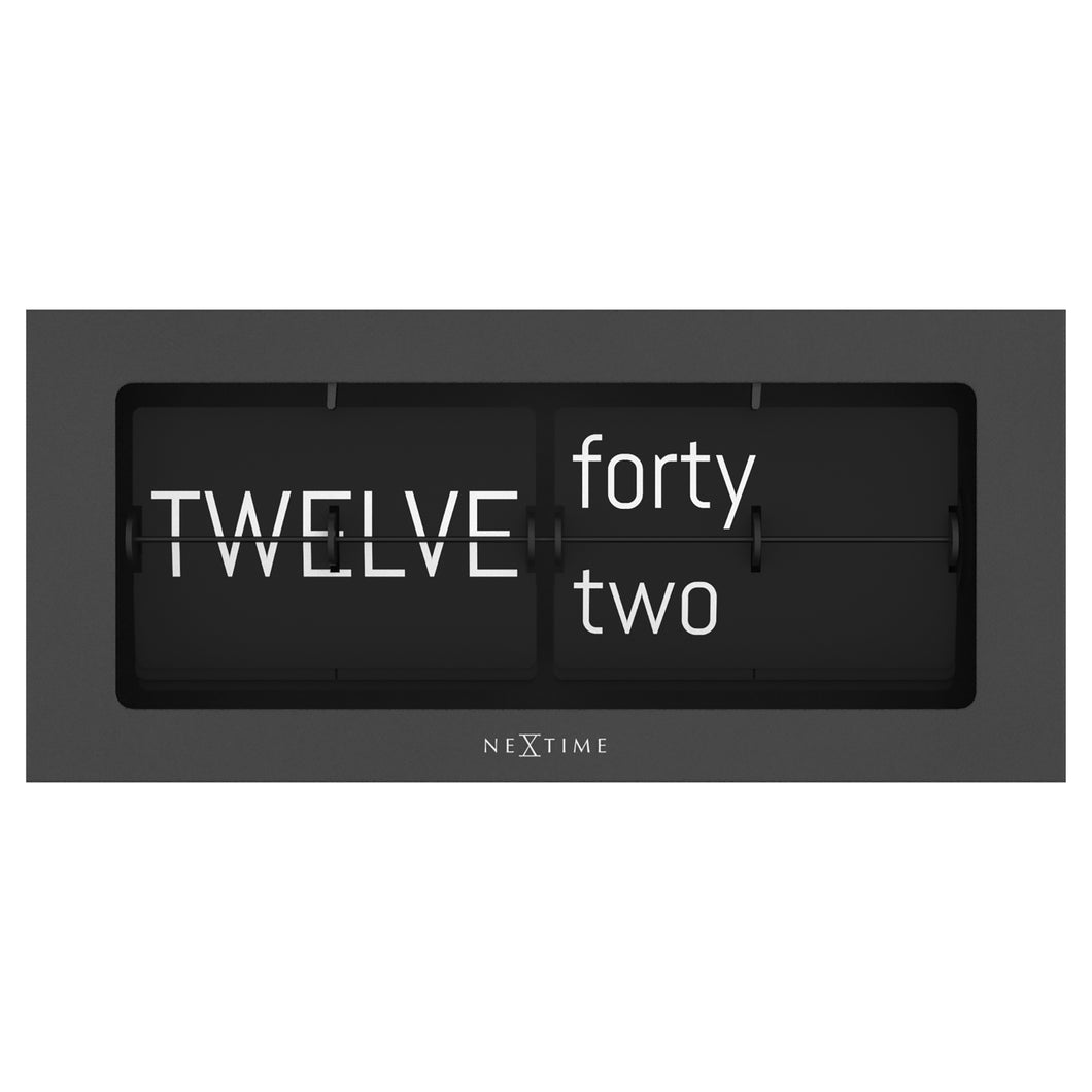 Flip Clock - Table or Wall Clock - Black - Metal- 36x16x8.5cm - Big Flip Text - NeXtime