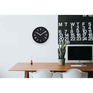 nXt - Wall clock - Ø 25 cm - Plastic - Black - 'Irving'