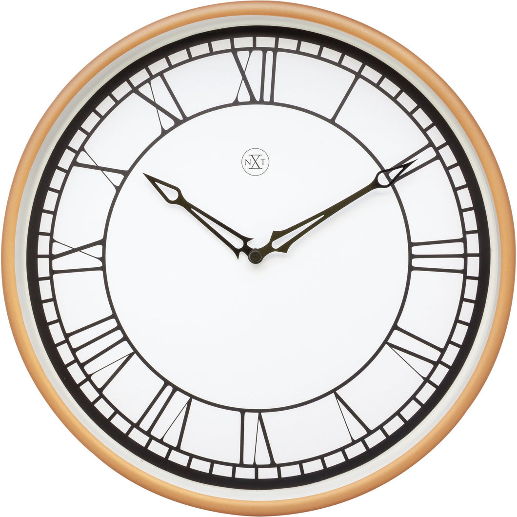nXt - Wall clock - Ø 30 cm - Plastic - White / Matt Rose - 'Kyle'