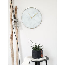 Load image into Gallery viewer, NeXtime - Wall clock - Ø 40 cm - Glass / Metal - White - 'Marble'