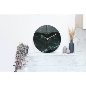 NeXtime - Wall clock - Ø 40 cm - Glass / Metal - Black - 'Marble'