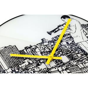 NeXtime - Wall clock - Ø 40 cm - Glass / Metal - White - Trumpet City