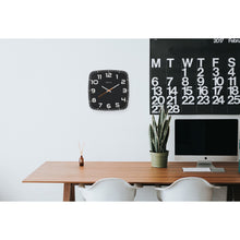 Load image into Gallery viewer, NeXtime - Wall clock - 30 x 30 x 3.5 cm - Glass - Black - 'Classy Square'