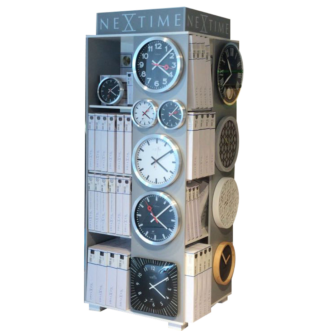 Wooden dislapy - 80 x 80 x 200 cm - Wood - Grey - 'Clock Tower'
