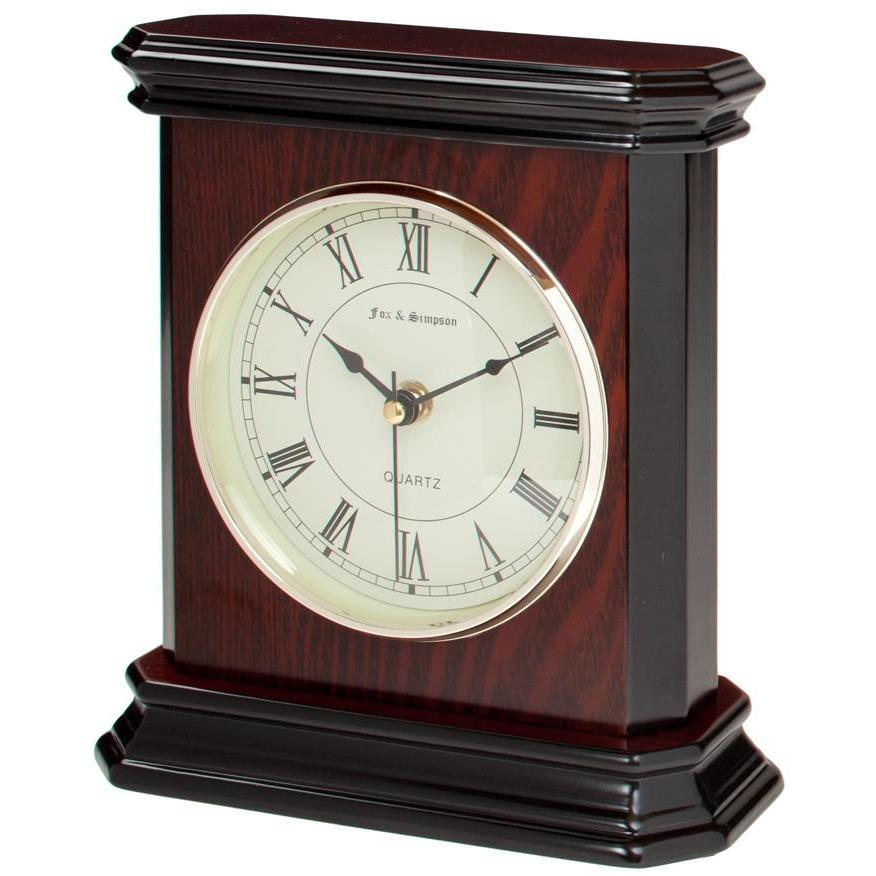 Teak and Black Wood Mantel Clock with Piano Finish