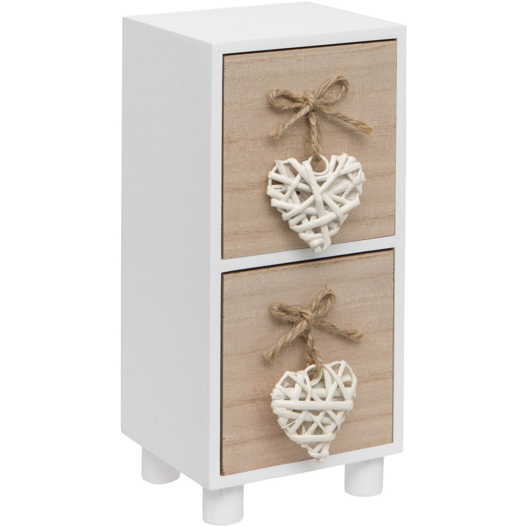 Maturi White Woven Heart Wooden Two Drawer Chest