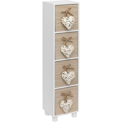 Maturi White Woven Heart Wooden Four Drawer Chest