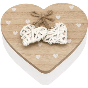 Maturi Woven Heart Wooden Trinket Jewellery Box with Lid
