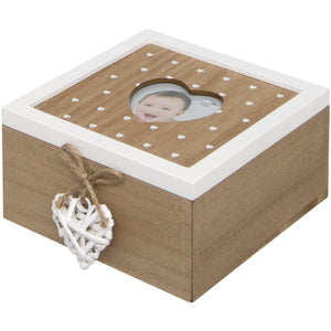 Woven Heart Wooden Keepsake Box with Photo Aperture on Lid