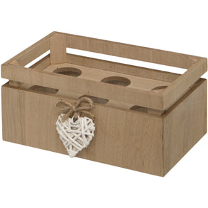 Woven Heart Wooden Egg Crate for Half A Dozen Eggs