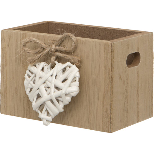 Maturi Woven Heart Wooden Trinket Box