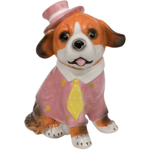 Pink Hat and Yellow Tie Dog Ceramic Trinket