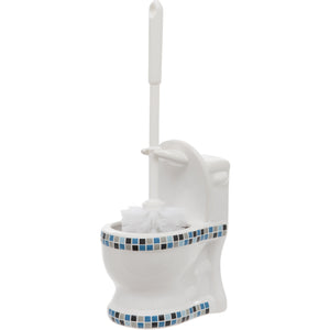Blue Mosaic Toilet Shaped Toilet Brush Holder