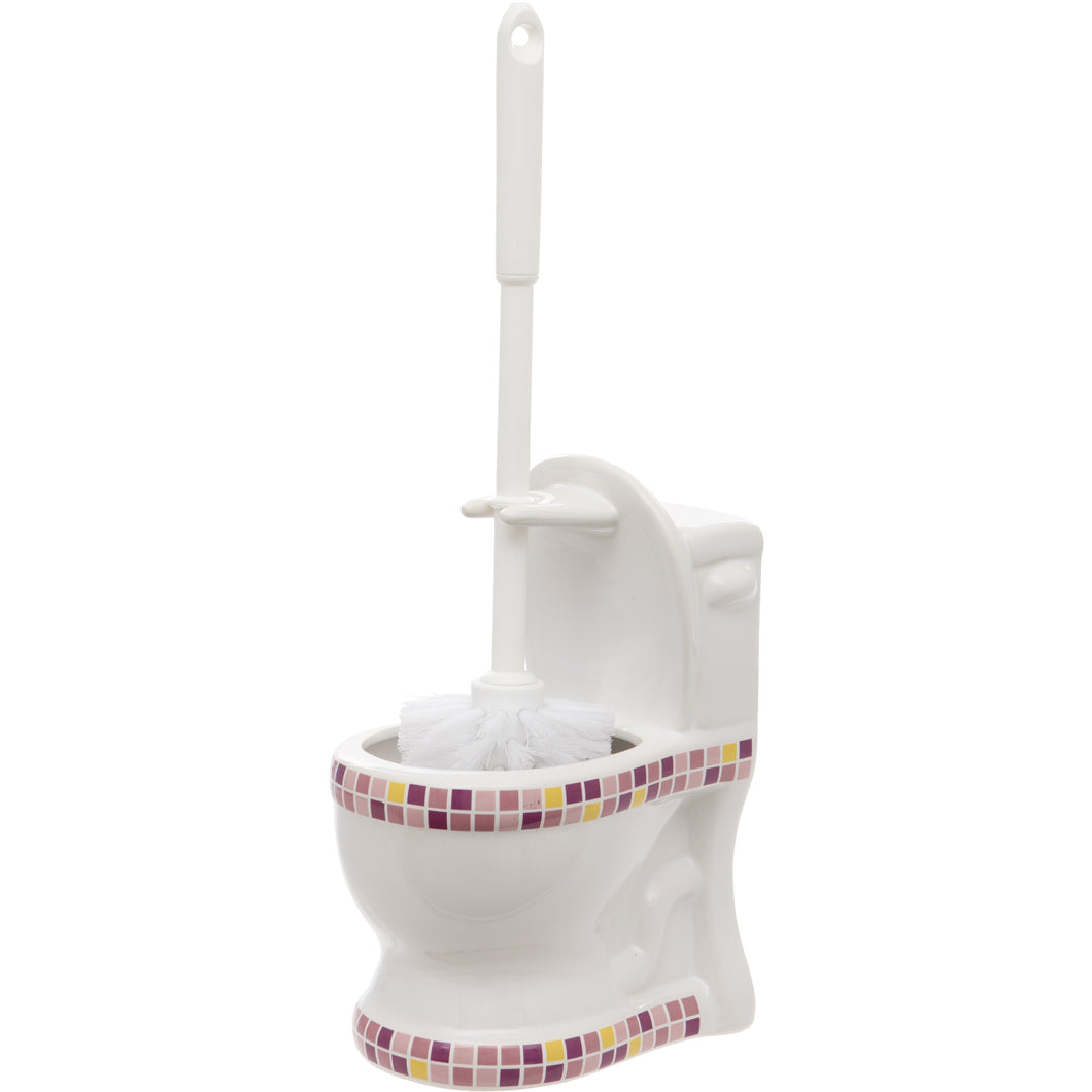 Pink and Yellow Mosaic Toilet Shaped Toilet Brush Holder