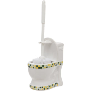 Green Mosaic Toilet Shaped Toilet Brush Holder