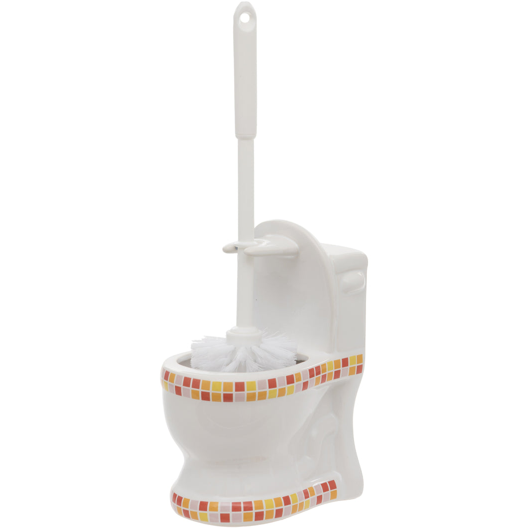 Red and Orange Mosaic Toilet Shaped Toilet Brush Holder